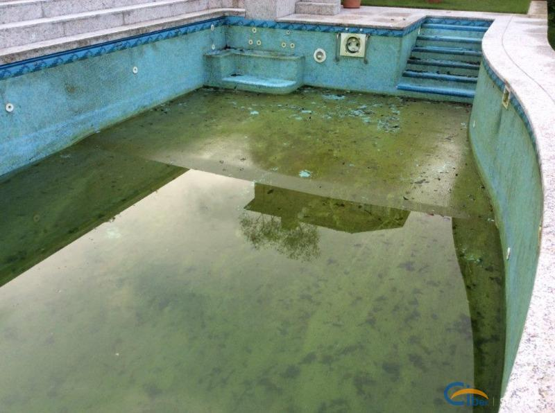 Cleaning and restoration of a swimming pool in mosaic